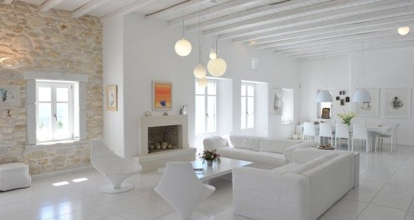 Living Room of Moonlight Villa in Paros Greece. http://instylevillas.net/property/moonlight-villa-paros/