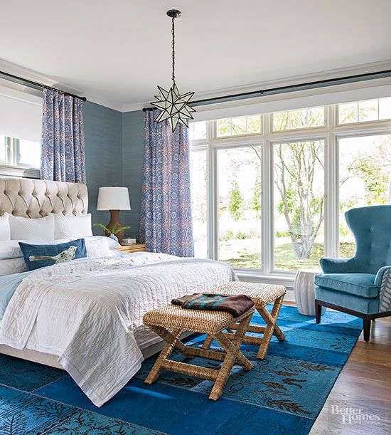 In the master bedroom, a Sleep Number mattress uses sensors and an app to analyze how you sleep. A room-darkening roller shade from Pella disappears behind a valance when it gets the order from a phone or a remote control.
