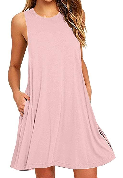 e97a86fa568 OMZIN Comfy Dresses Cotton Sleeveless Dress Beach Cover Ups for Women Pink  XL