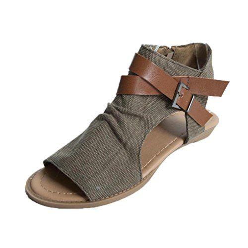 c23b0489fe82 Angelof Sandales Femmes Sandales Plat Solide Femme Chaussures Poissons  Bouche Sandale Randonnee Fermé Ado Fille Sandales Bretelles Grande Taille