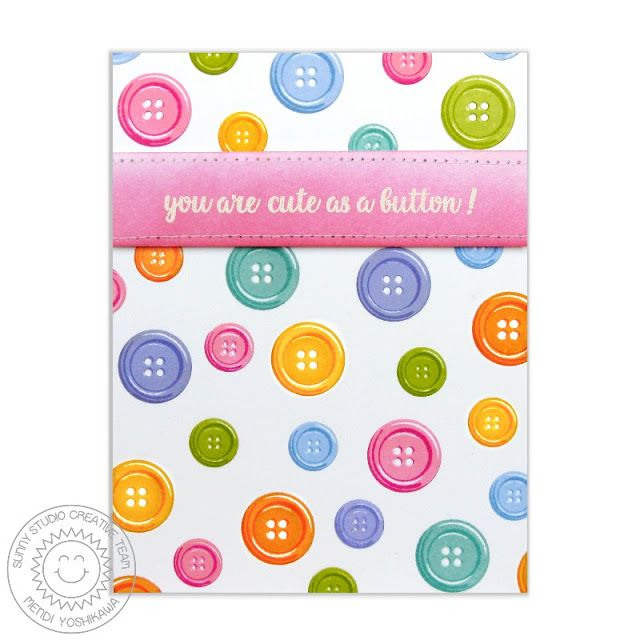 Sunny Studio Stamps: Your Are Cute As A Button Rainbow Polka-Dot Card by Mendi Yoshikawa