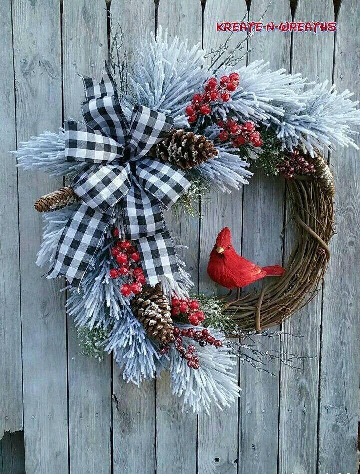 Cardinal Christmas Wreath Farmhouse Winter Cardinal Flock