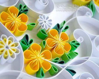 "Original Paper Quilling Wall Art. - The artwork ""Lemonade"". Handmade. Design. Decor. Gift."