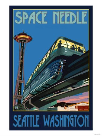 Space Needle and Monorail, Seattle, Washington.