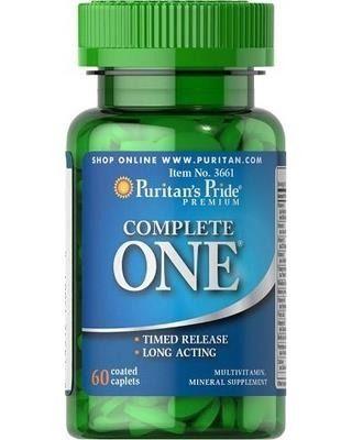 Puritan's Pride Complete One (Witamina D3, C, E, B6, B12, B3, A, E, selen, cynk, multiwitaminy, minerały, B-50, B Complex ) Timed Release - witaminy o przedłużonym wchłanianiu - 60 tabletek - 60 % TANIEJ! NEW!   Multiwitaminy Produkty o specjalnym przeznaczeniu Witaminy NOWOŚCI Wzmocnienie i przywrócenie odporności Prozdrowotne CAŁKOWITA WYPRZEDAŻ Oczyszczające zielonki i antyoksydanty Minerały Antyestrogeny naturalne Produkty na wątrobę Włosy, skóra i paznokcie Oczy Sen i stres Aktywatory…