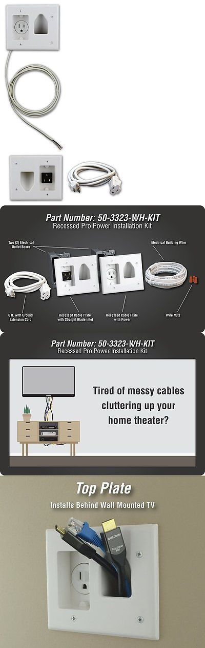 Other TV Video and Audio Accs: Datacomm 50-3323-Wh-Kit Flat Panel Tv Cable Organizer Kit With Power Solution BUY IT NOW ONLY: $44.95