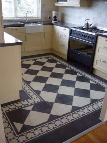 Zwart wit geblokte vloer
