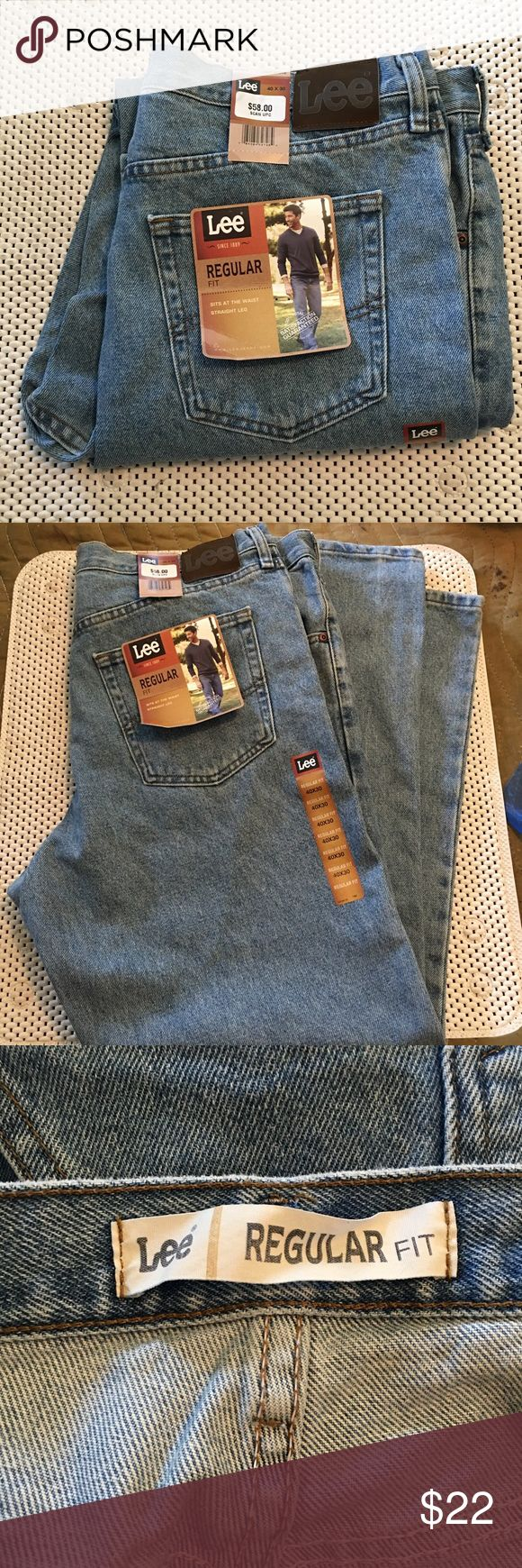 Lee Men's Denim Jeans Regular Fit 40x30 NWT Brand new with tags.  Lee light blue denim 100% cotton jeans.  Regular fit, sits at waist, straight leg.  Size 40 waist by 30 inseam length.  From non-smoking home. Lee Jeans Straight