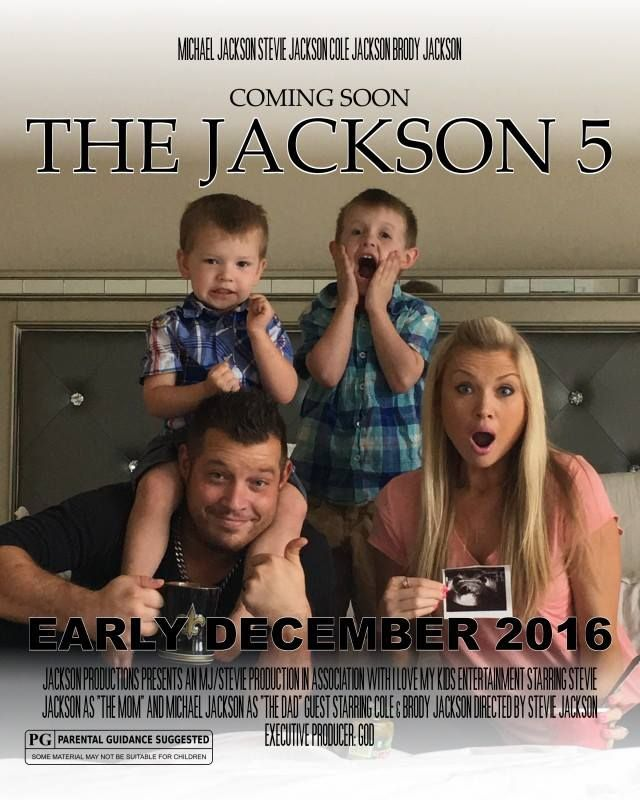 Pregnancy Announcement. Third baby announcement. Movie poster announcement.