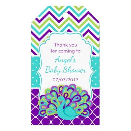 Peacock Green and Purple Baby Shower Thank You Gift Tags - baby shower ideas party babies newborn gifts