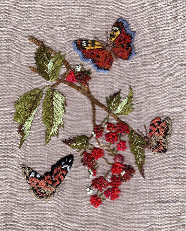BUTTERFLIES AND RASPBERRIES gorgeous embroidery kit. Via canevasfollies.ch I want this...