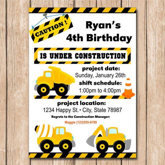 Volcar camión cumpleaños invitación por HeartfeltInvitations