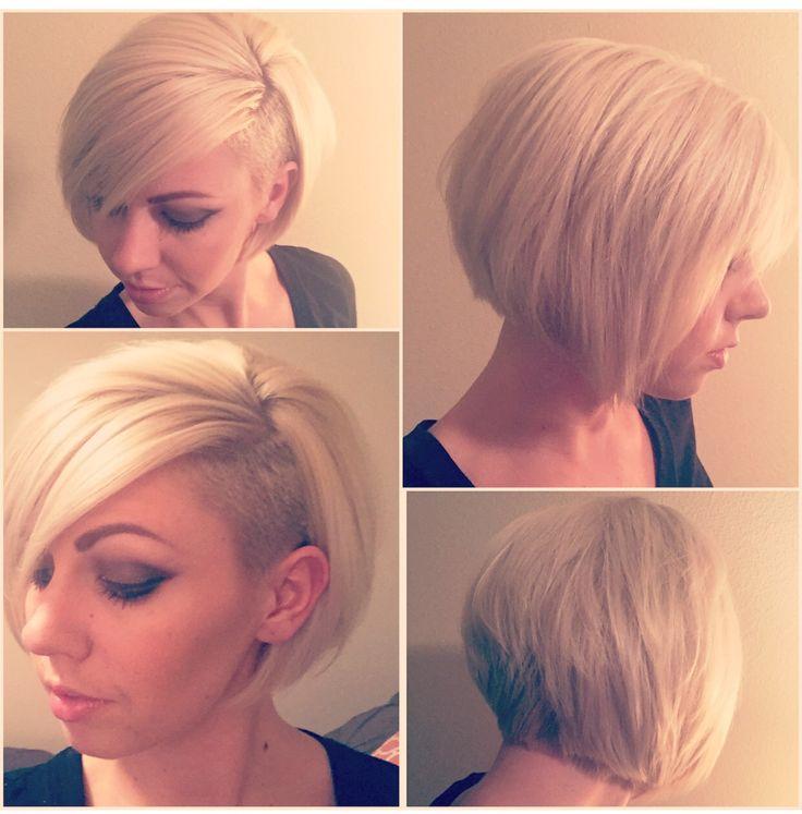 Asymmetrical undercut women's haircut. Undercut bob. Short hair. Created by Roy At Arte Salon- San Diego,ca