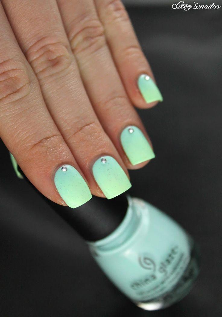 mint gradient nails #cocosnailss #nailart
