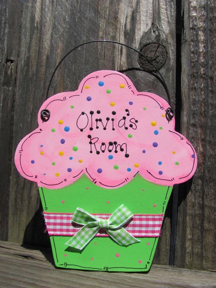Personalized  Cupcake sign kids door room decor