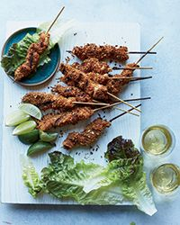West African Chicken Kebabs | Food and Wine/Sasha Martin.  Nigerian chicken kebabs crusted with peanuts, ginger, garlic, and more!