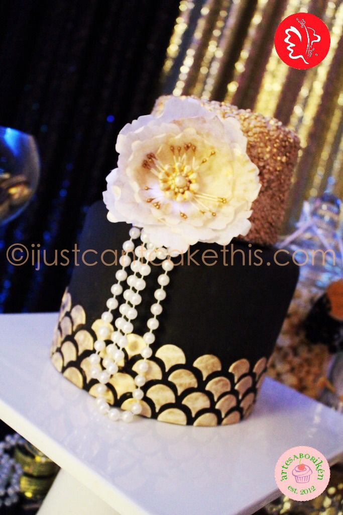 Black and gold Art Deco 1920's inspired cake with wafer paper peony! The Great Gatsby and the Roaring 20's are back!