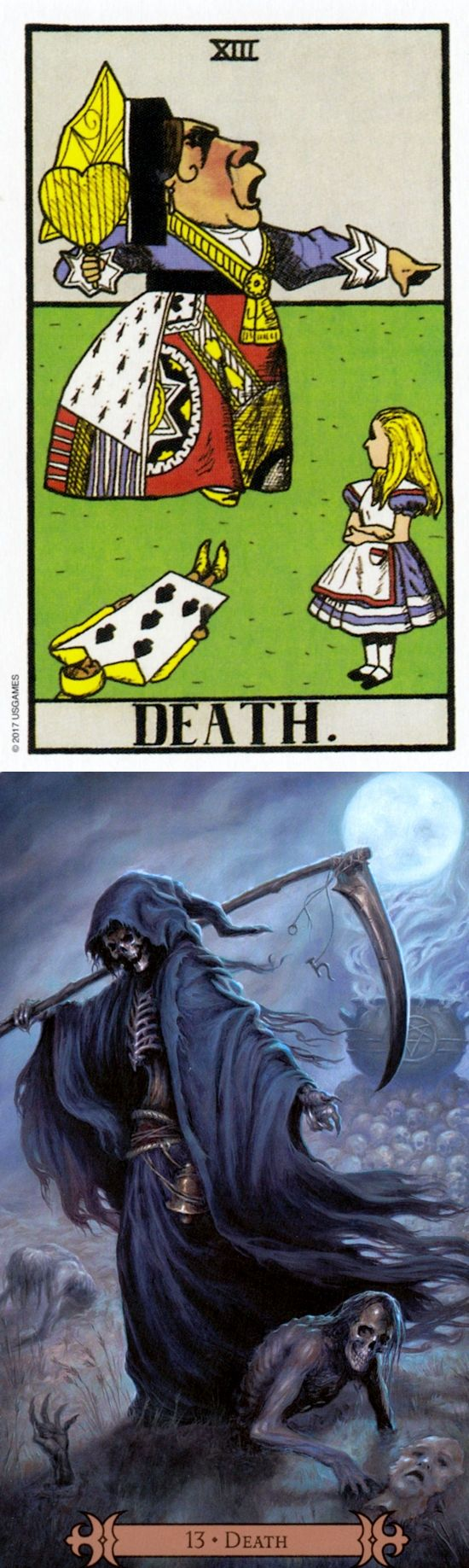 DEATH: end and fear of change (reverse). Wonderland Tarot deck and Spellcasters Tarot deck: horoscope tarot cards, free online tarot reading and free online tarot card reading lotus. New fortune telling cards and predictions of the future.