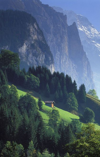 The Swiss Alps - Photo by David Noton. A green like no other. Majestic mountains that look like fiords surrounding lakes. Haunting echoes of alphorns and cow bells in the highest peaks. I wanna go back.