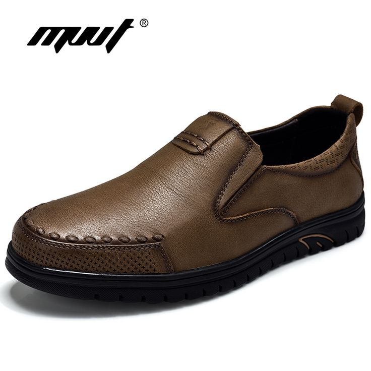 MVVT Retro Style Genuine Leather Casual Shoes Men Top Slip-On Men s Flats  Shoes Fashion 73102e4eacc5