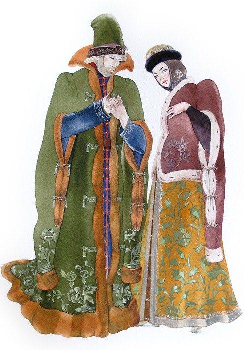 Masha Kurbatova. Boyar and Boyarynya. Watercolour, 2010. A boyar is a nobleman in ancient Russia, a boyarynya is his wife. #art #folk #Russian #costume