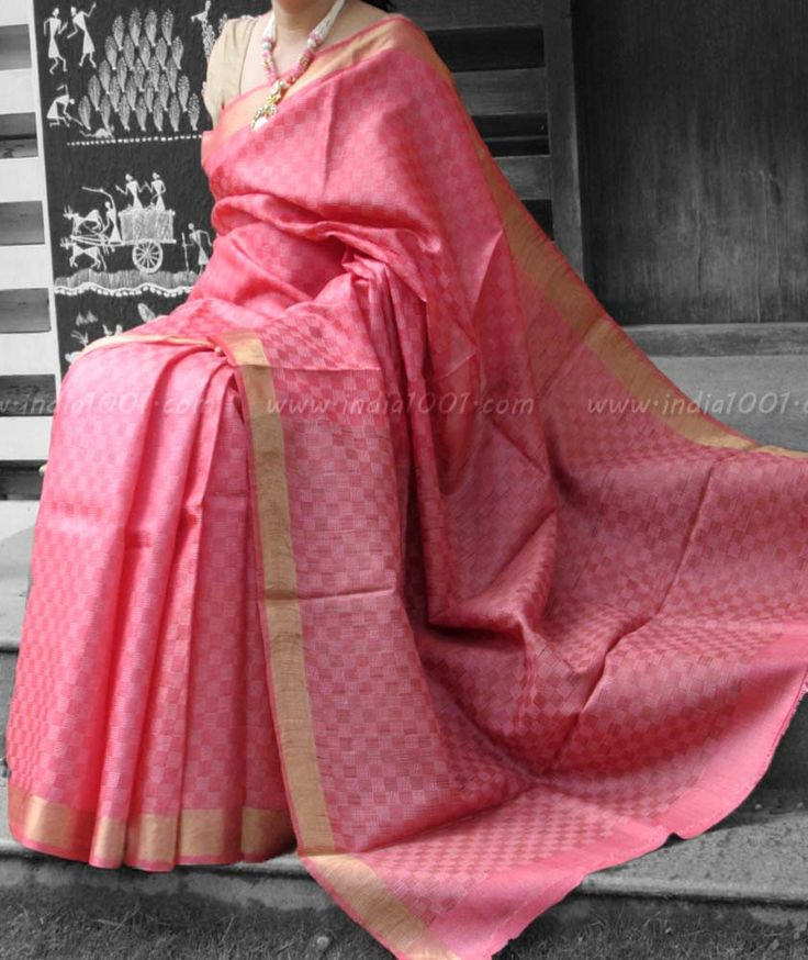 Elegant & Fine Tussar Silk Saree – India1001.com