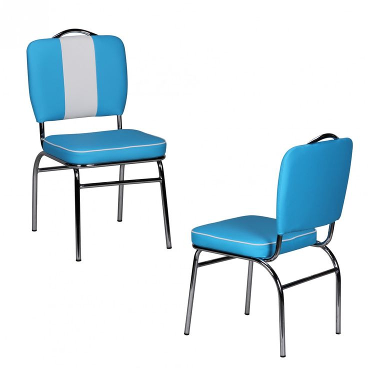 American Diner Retro Stuhl 50er Jahre Blau Weiß
