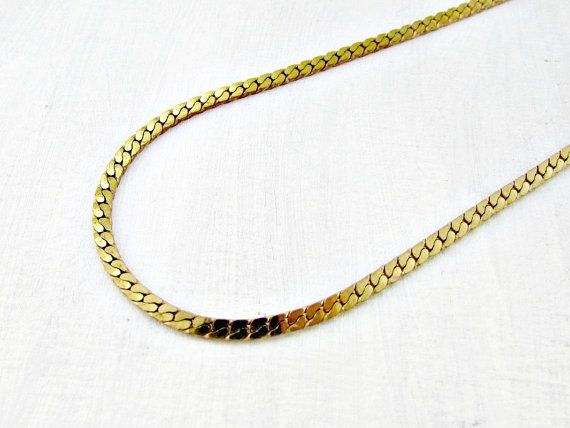 Vintage Mens Gold Chain Necklace, Thick Flat Chunky Gold Link Chain, Gold Modernist Necklace, 1970s 80s Jewelry, Gift for Boyfriend Him Guy by RedGarnetVintage