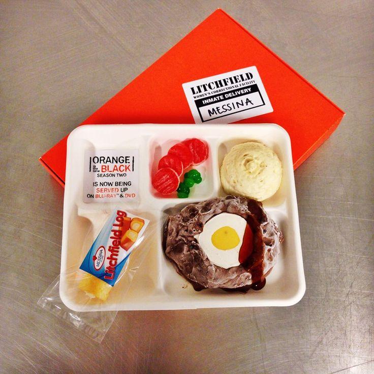 Series 2, Orange Is the New Black DVD release. MENDEZ MEATLOAF: Chocolate gelato with chocolate crunch, white chocolate ganache, passionfruit coulis & rum caramel  CRAZY EYE'S SWIRL: Parsnip and vanilla mousse  PRISON WIFE PEAS & CARROTS: Orange and green apple jellies  LITCHFIELD LOG: Vanilla sponge with vanilla semi freddo centre #OITNB #Netflix #prisonfood #gelato