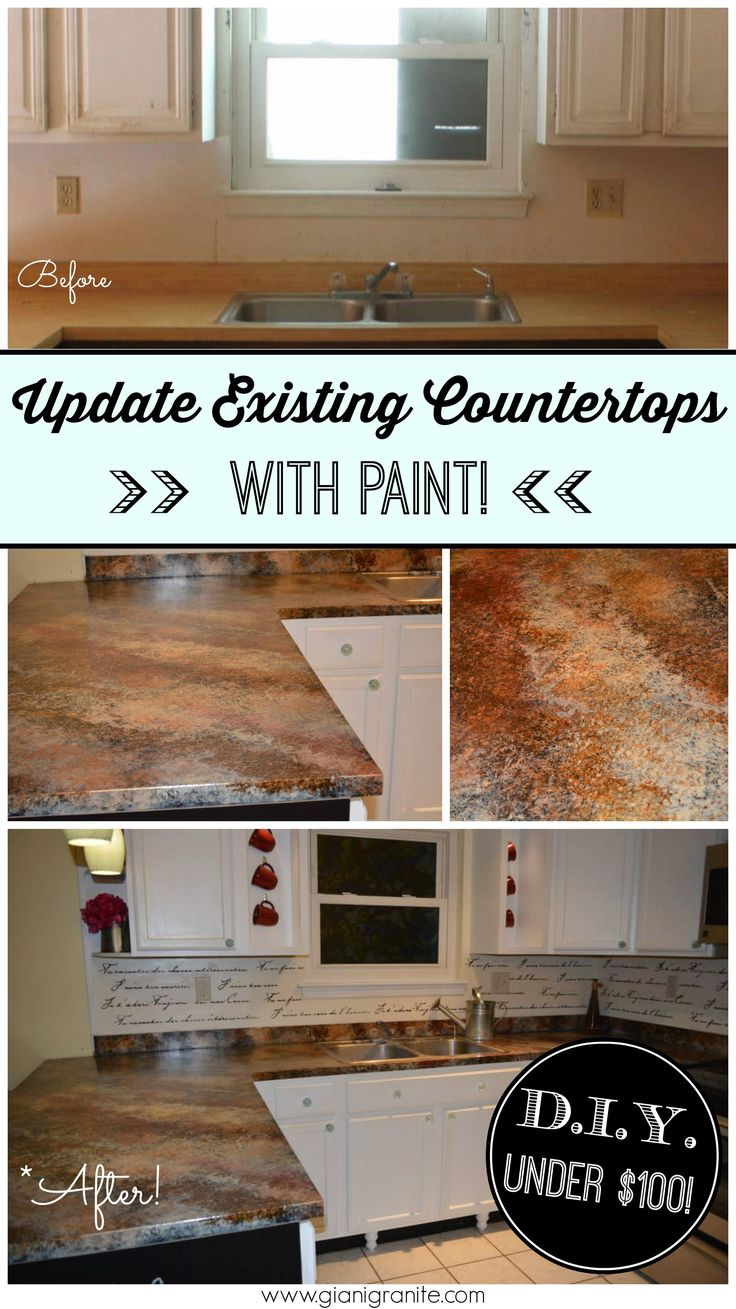Kitchen makeover on a budget! Refresh existing countertops with Giani Granite Countertop Paint. #DIY www.gianigranite.com