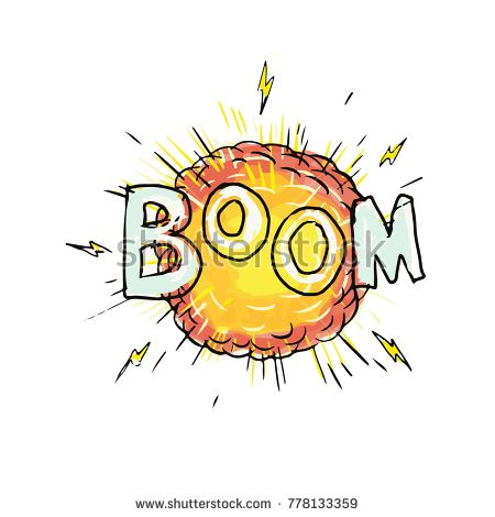 Cartoon style illustration of an explosion with word Boom set on isolated background.  #boom #cartoon #illustration