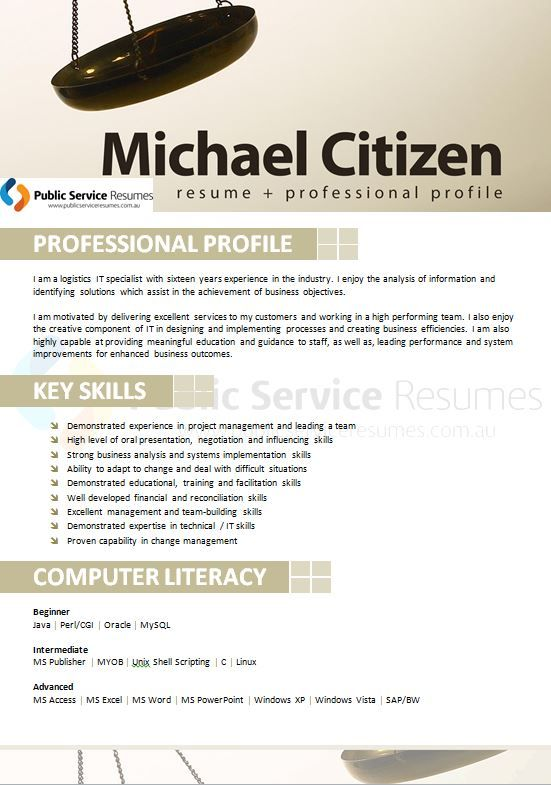 A professional Public Service Resumes Writer will be experienced in interviewing you to draw out the key strengths and qualities that you will bring to a government position. We are then able to create for you a strong resume that demonstrates not only the IT and Telecommunications experience that you possess but also your individual qualities and competencies that set you apart. e.