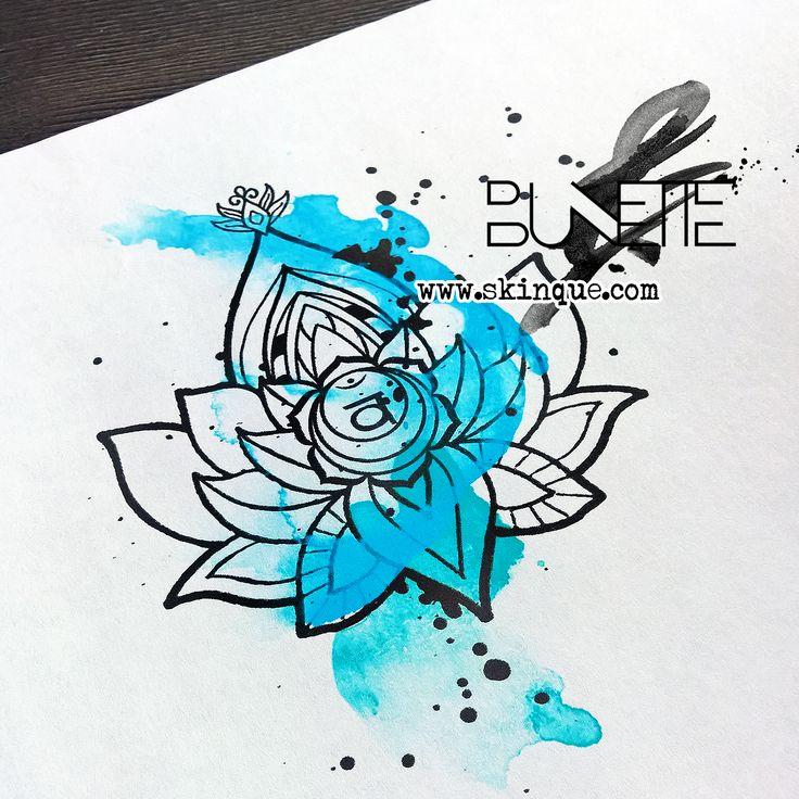 Lotus flower watercolor trash polka tattoo idea inspiration bunette