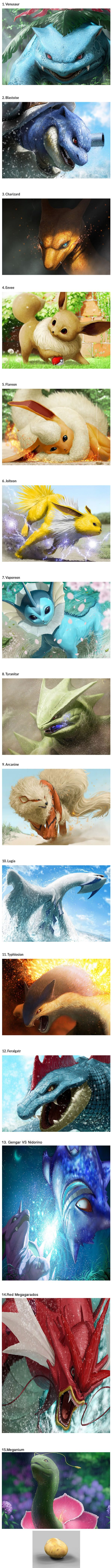 Japanese artist (dekunobou-kizakura) creates breathtaking realistic Pokemon paintings