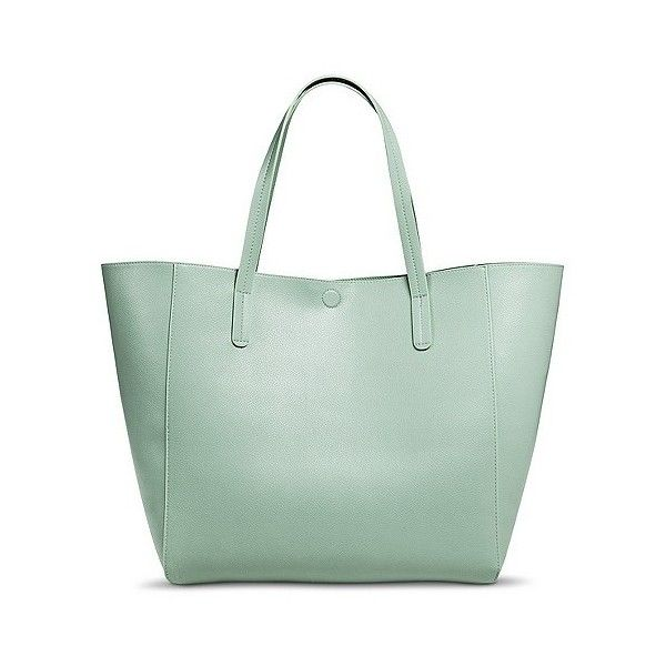 Women's Reversible Tote Handbag- Green, Light Mint/Mint ($37) ❤ liked on Polyvore featuring bags, handbags, tote bags, handbags totes, reversible leather tote bag, genuine leather tote, green leather handbag e leather tote handbags