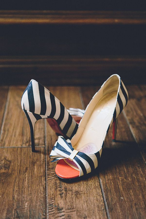 Christian Louboutin Striped Shoes | Photo by Gina & Ryan Photography, Shoes by Christian Louboutin