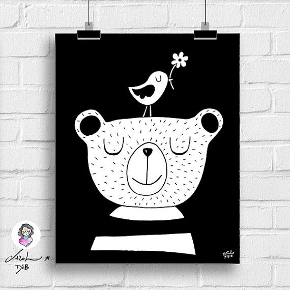 Bear and bird kids room printable art by SementinhasCorDeRosa. Monochrome nursery idea! * Minimalistische designs voor de kinderkamer * dekoration für kinderzimmer * barnkammare * barnrum * børneværelse indretning * wanddecoratie * decorazioni per le pareti della cameretta dei bambini * fai da te * DIY * детская комната декор * 子供の部屋のインテリア *