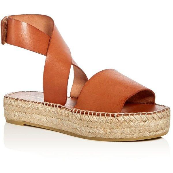 Bettye Muller Seven Leather Ankle Strap Platform Espadrille Sandals ($210) ❤ liked on Polyvore featuring shoes, sandals, cuoio tan, bettye muller, tan platform sandals, espadrilles shoes, tan sandals and platform espadrilles shoes