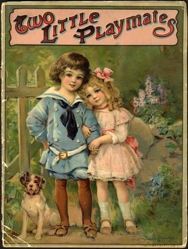 TWO LITTLE PLAYMATES - 1913 - FRANCES BRUNDAGE Children & Dog