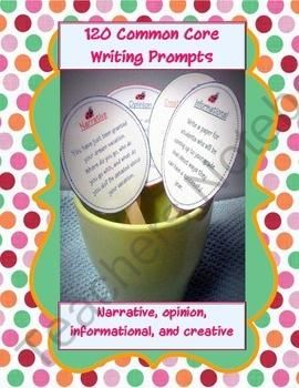 120 Common Core Writing Prompt Cards from The Teaching Side on TeachersNotebook.com (29 pages)  - 120 Common Core Writing Prompts! Informational, opinion, narrative, plus creative free write. Makes cute writing sticks!