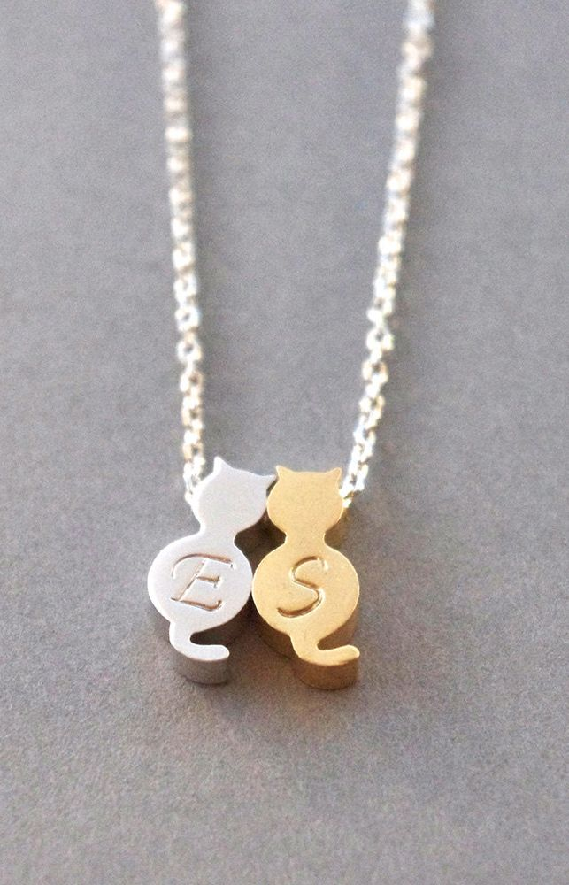 Cat Jewelry Tiny Cat Necklace Monogrammed can I please like this times 100? and hug it really hard?