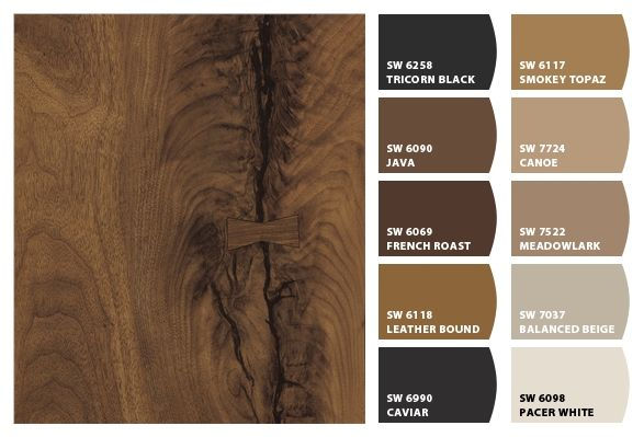 3479 Black Walnut Timber 180fx® by Formica Group laminate provides the basis for this gorgeous palette! Order your free sample of Black Walnut Timber, now!