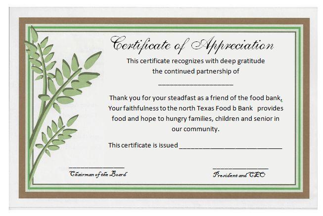 church appreciation certificate