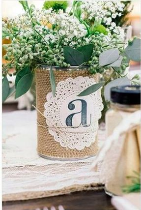 Cute centerpieces with last name initial