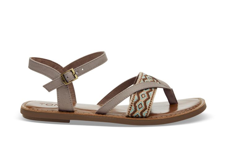 undefined Desert Taupe Canvas Embroidery Women's Lexie Sandals