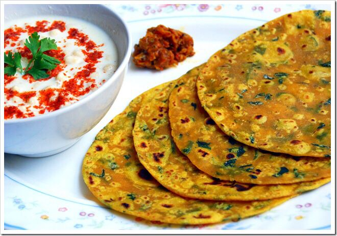 Methi paratha/Thepla Methi paratha/ Thepla. A great breakfast item or snack for school tiffin. Also makes a great lunch option for everyone. Ingredients: Wheat flour ( as per requirement. Start with 2 cups) Thick curds 3 tbsp Salt to taste Turmeric pwd 1 tsp Chilli pwd 1 tsp Asafoetida 1/2 tsp Paste of ginger, green chillies, jeera, whole corriander seeds .( 1inch,2,1tsp,2tsp) Finely chopped Methi leaves 1cup Process: Mix all the above in a big vessel without adding water. Once everything is…