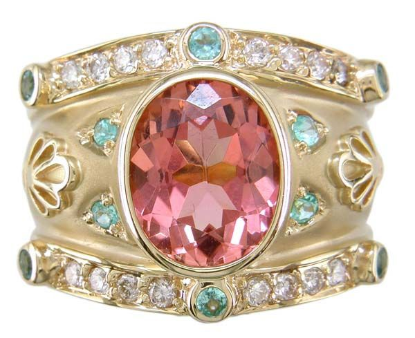Salmon tourmaline, paraiba & diamond cigar band ring by Judy Mayfield