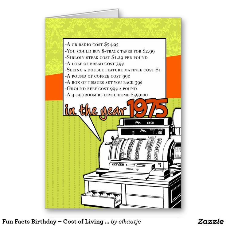 Fun Facts Birthday – Cost of Living in 1975 Greeting Card