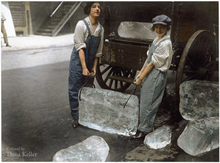 Girls Delivering Ice, 1918  30 Iconic Black & White Old Pictures That Look Amazing In Colour • Page 5 of 6 • BoredBug