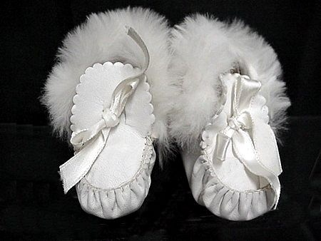 antique leather and rabbit fur pram boots ... c. 1915